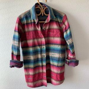 Tops - Vintage serape stripe boho western button down top